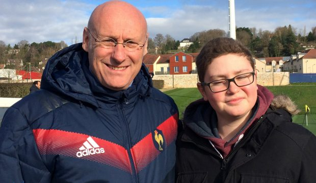 Alexandre a rencontré les joueurs de l'équipe de France de rugby et a assisté à un match